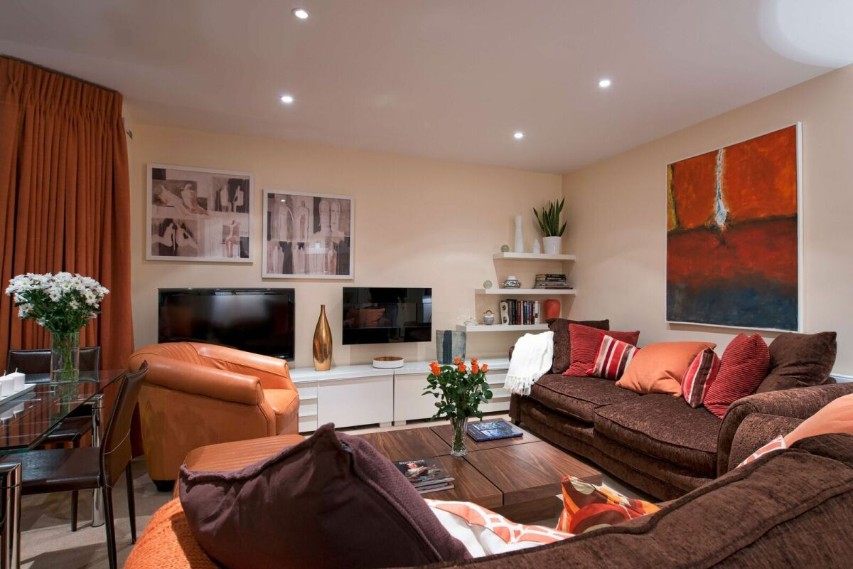 Living Area, Finborough Road Serviced Apartment, Kensington