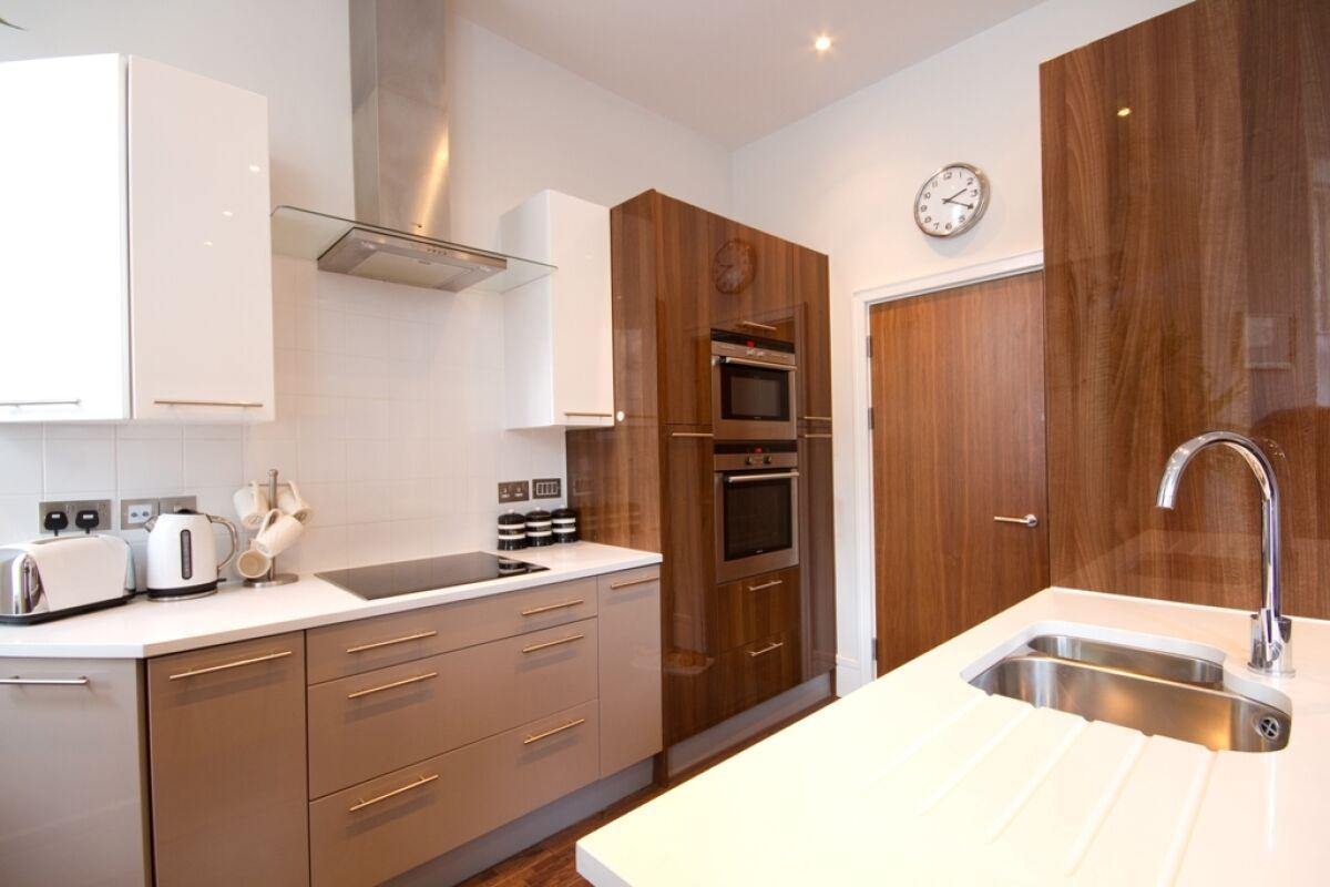 Kitchen, Gresham House serviced apartment, Eastbourne
