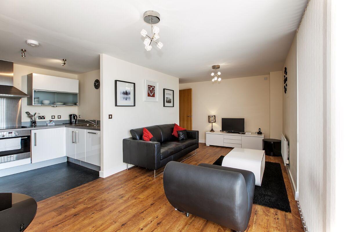 Kitchen and Living Room, Vizion Serviced Apartments, Milton Keynes