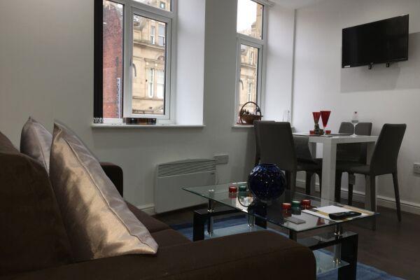 Living Room, Bradford Central Serviced Apartment, Bradford