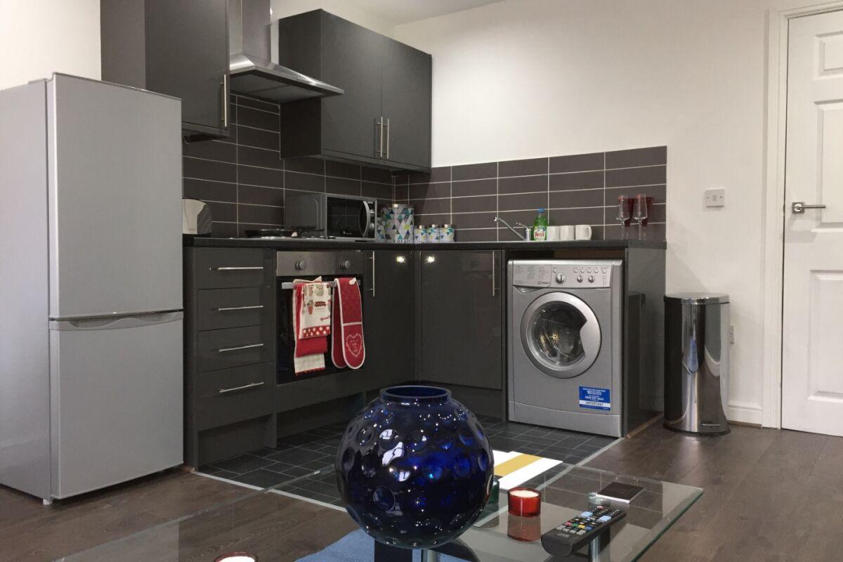 Kitchen, Bradford Central Serviced Apartment, Bradford