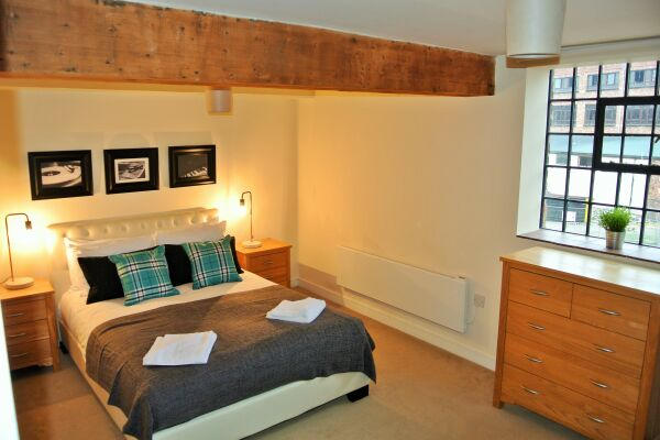 Bedroom, Steam Mill Serviced Apartments, Chester