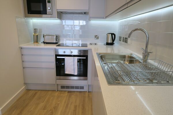 Kitchen,Quay Serviced Apartments, Manchester