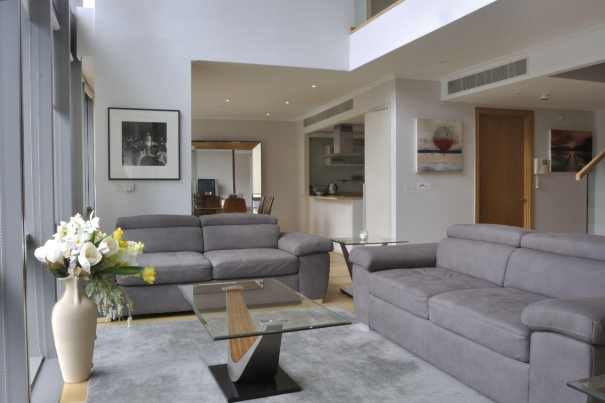 Living Area, West India Quay Serviced Apartment, Canary Wharf