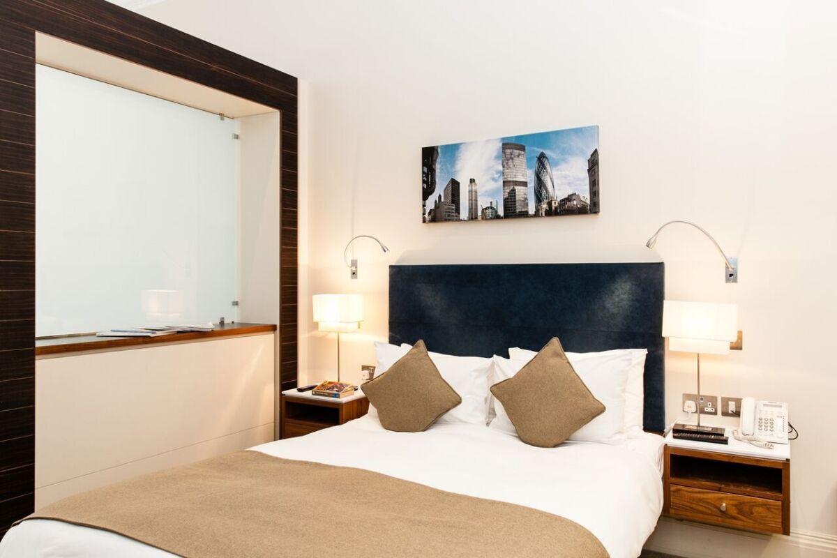 Bedroom, Suffolk Lane Serviced Apartments, London