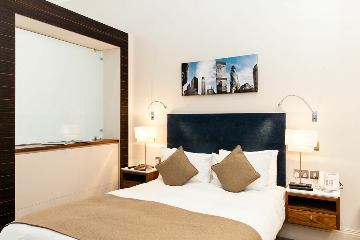 Bedroom, Suffolk Lane Serviced Apartments, London