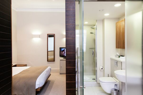 Bedroom and Bathroom, Suffolk Lane Serviced Apartments, London