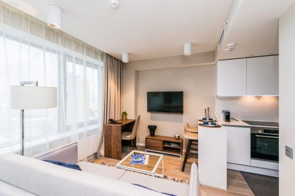 Living and Kitchen Area, Novy Arbat Serviced Apartments, Moscow