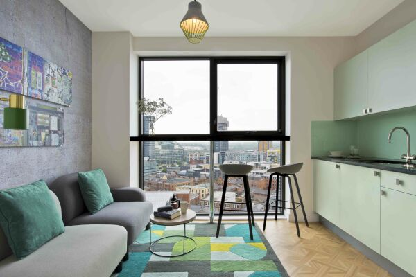 Open Plan Living Area, Church Street Serviced Apartments, Manchester