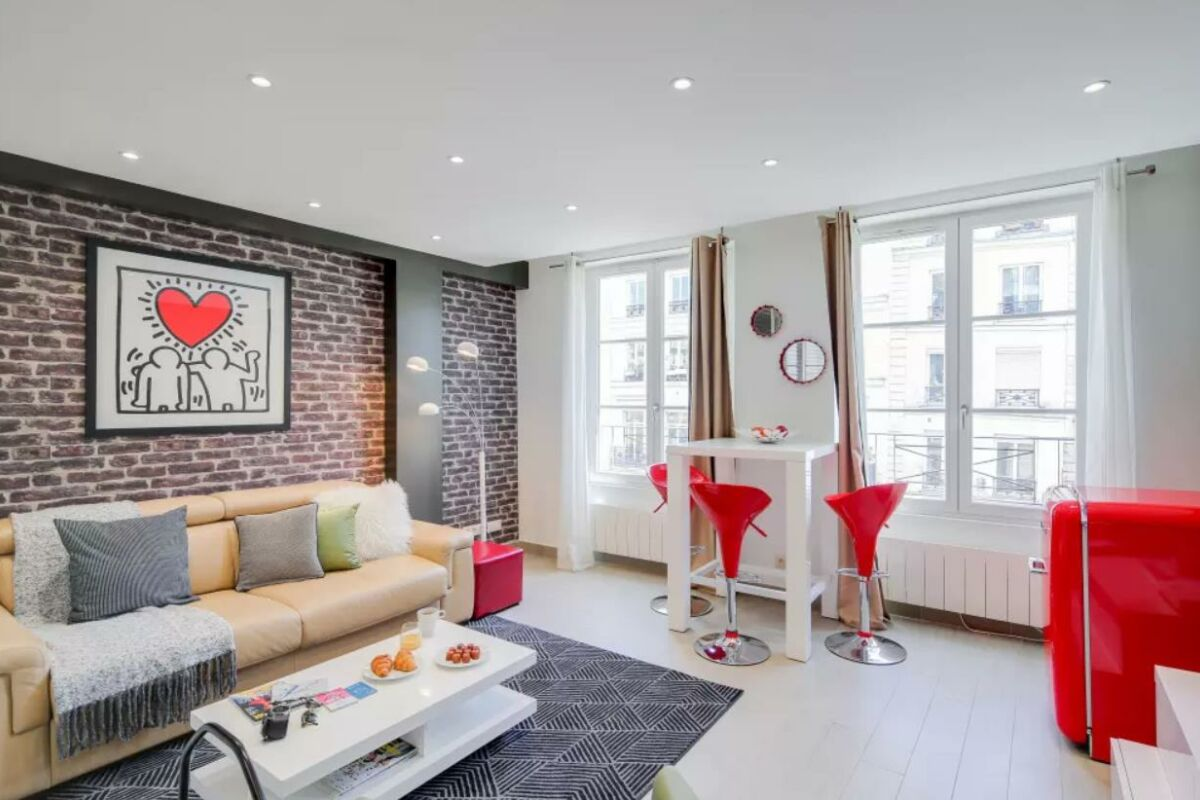 Living Area, Saint Denis III Serviced Apartment, Paris