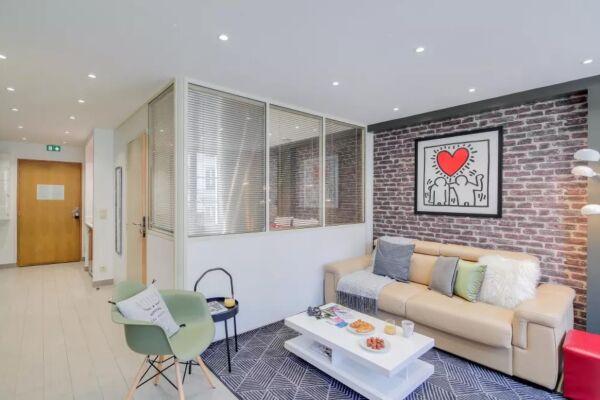 Living Area, Saint Denis III Serviced Apartment, Paris