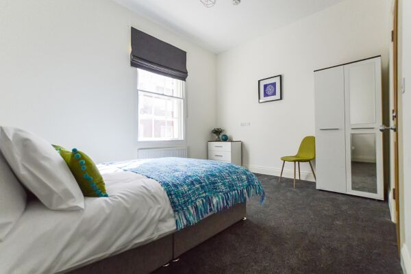 Bedroom, Friar Lane Chambers Serviced Accommodation, Leicester