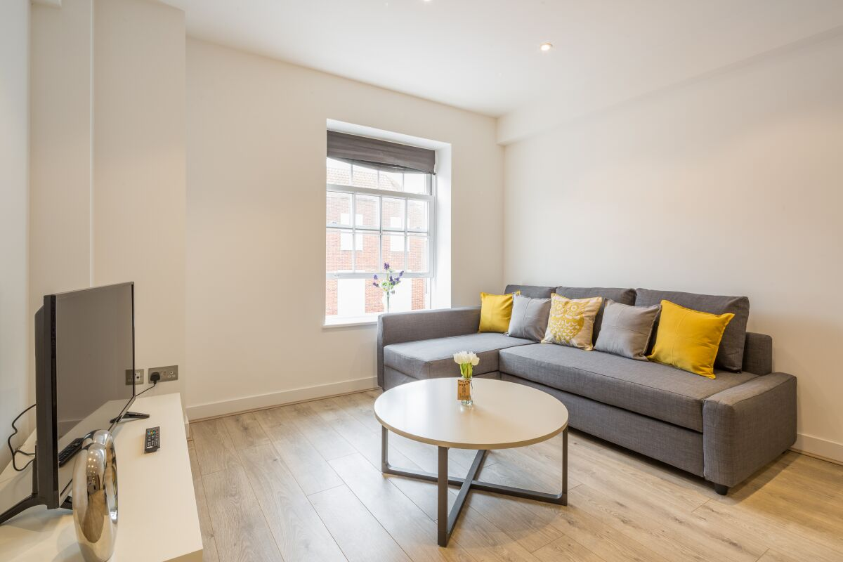 Living Area, Stonehills House Apartment, Welwyn Garden City