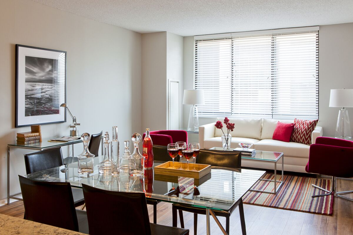 Living and Dining Area, Bank Street Commons Serviced Apartments, White Plains, New York
