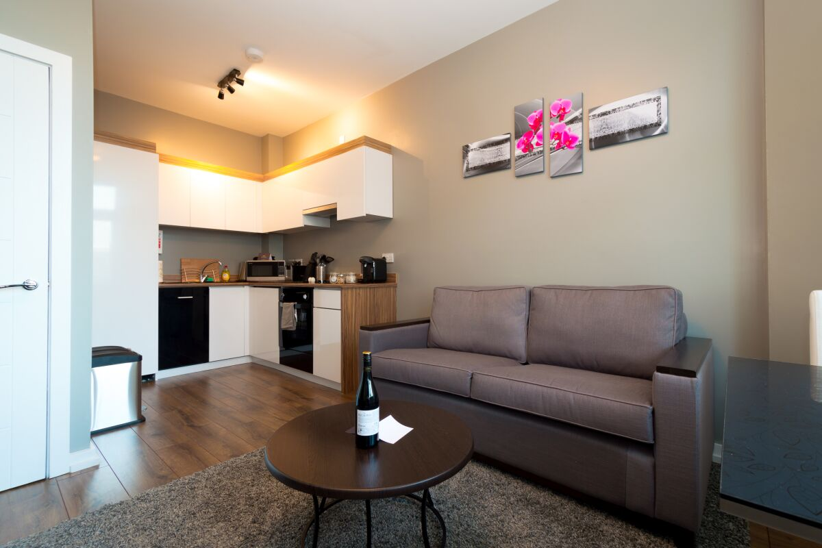 Living Area, Fitzhamon Serviced Apartments, Cardiff