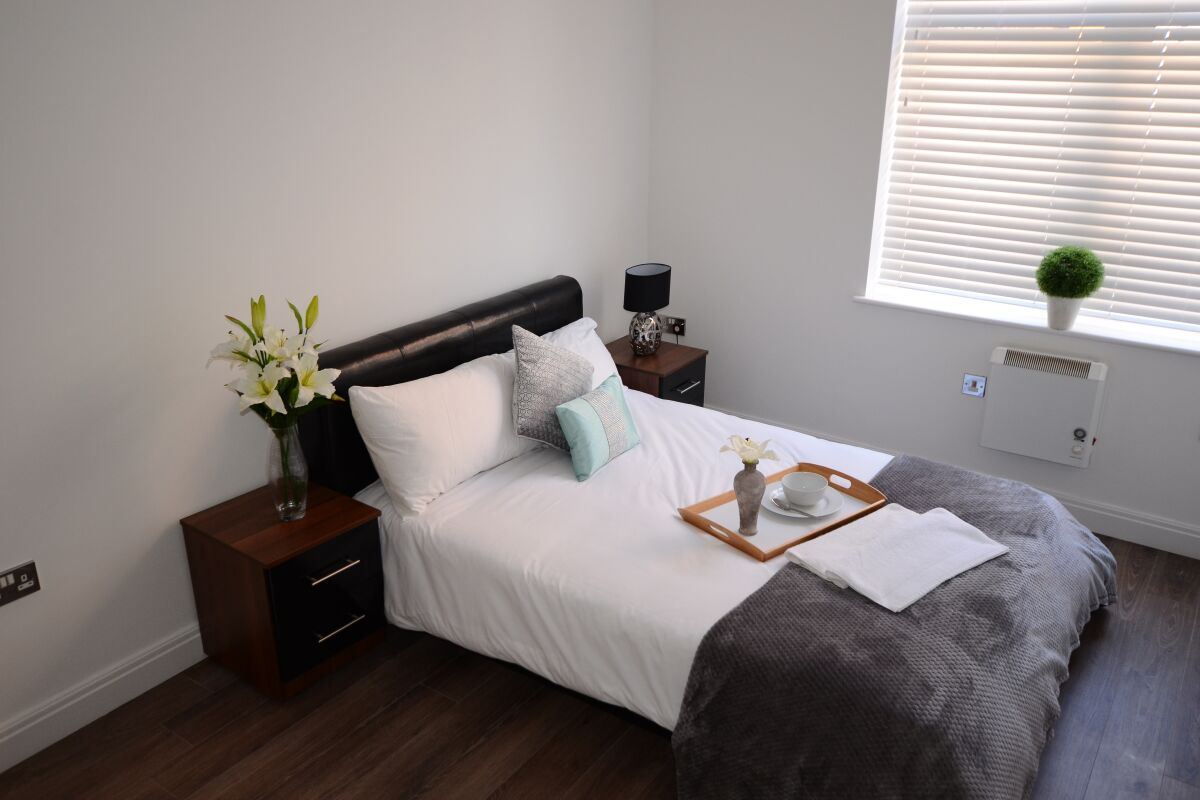 Bedroom, Number 91 Serviced Apartment, Birmingham