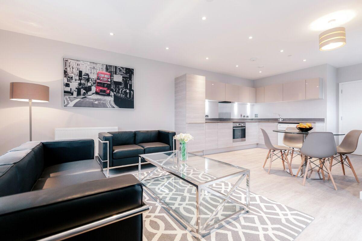 Lounge and Kitchen, Vertex House Serviced Apartments, Croydon, London