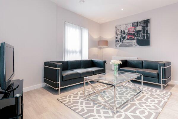 Living Room, Vertex House Serviced Apartments, Croydon, London
