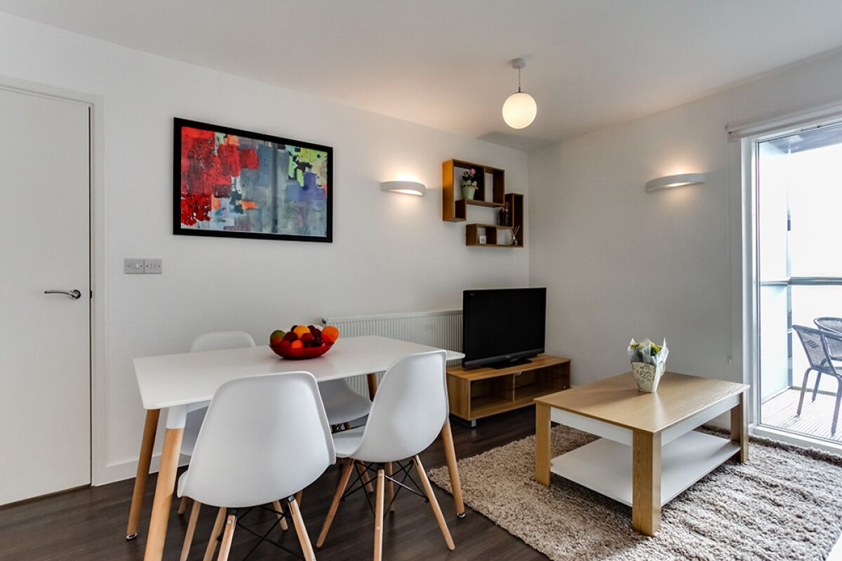 Living and Dining Area, Dance Square Serviced Apartments, Clerkenwell, London