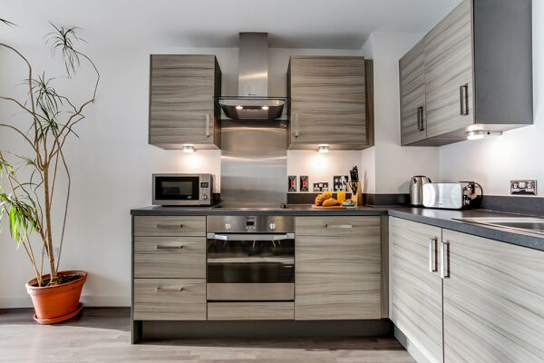 Kitchen, Dance Square Serviced Apartments, Clerkenwell, London