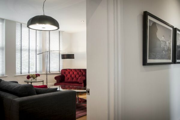 Hall and Living Room, Garrick Mansions Serviced Apartments, Covent Garden, London
