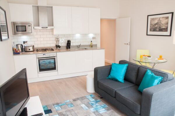 Open Plan Living Area, Chandos Place Serviced Apartments, Covent Garden, London