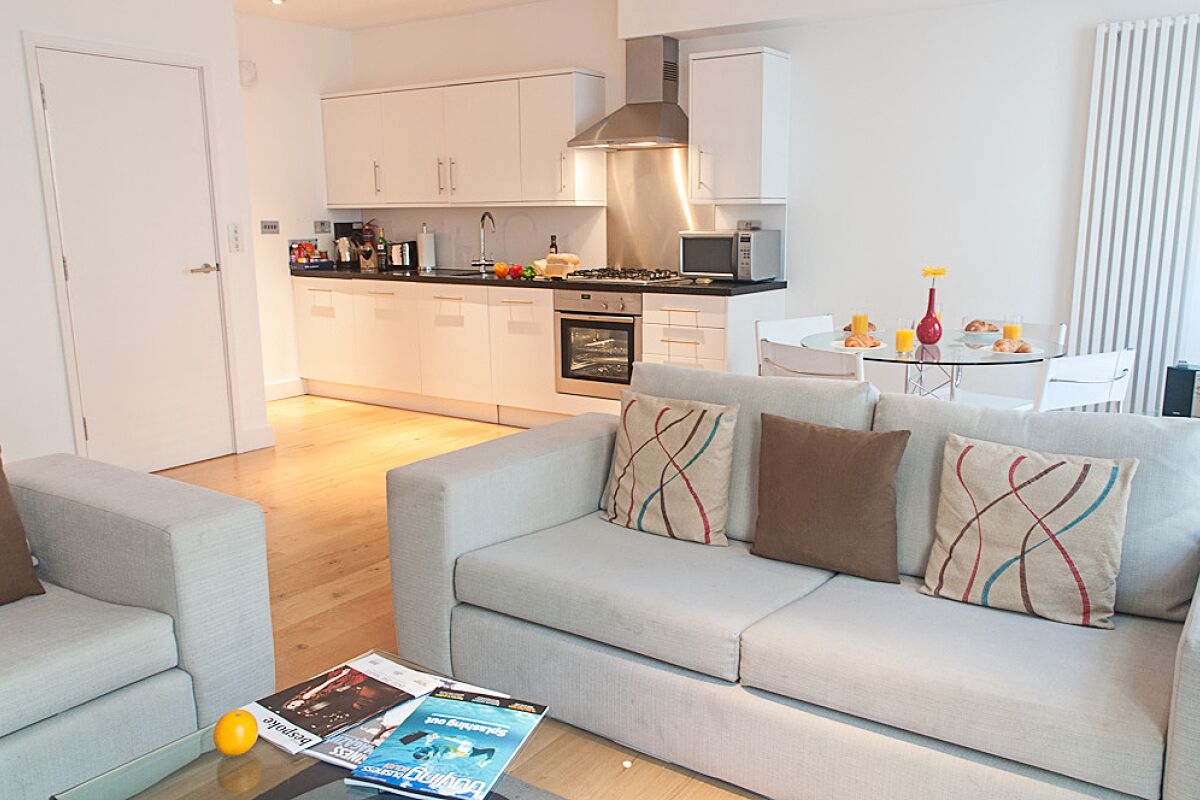 Living Room and Kitchen, Wellington Street Serviced Apartments, Covent Garden, London