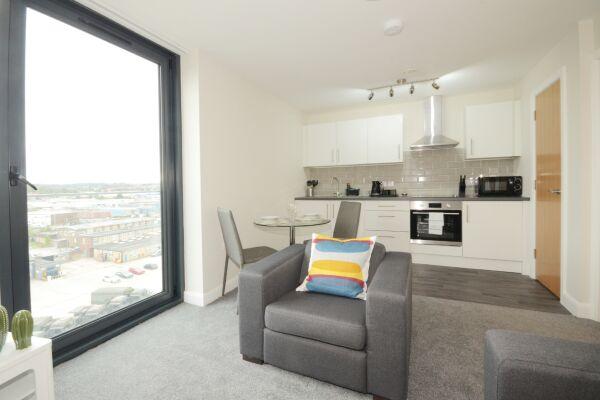 Open Plan Living Area, Victoria House Apartments, Leeds