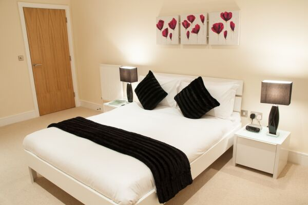 Bedroom, Lanterns Court Serviced Apartments, Canary Wharf, London