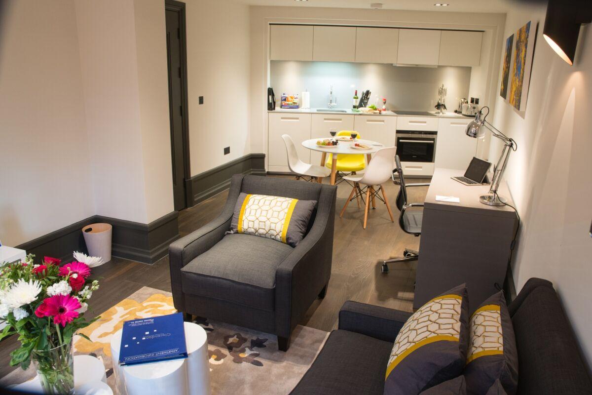 Open Plan Living Area, Garrick Street Serviced Apartments, Covent Garden