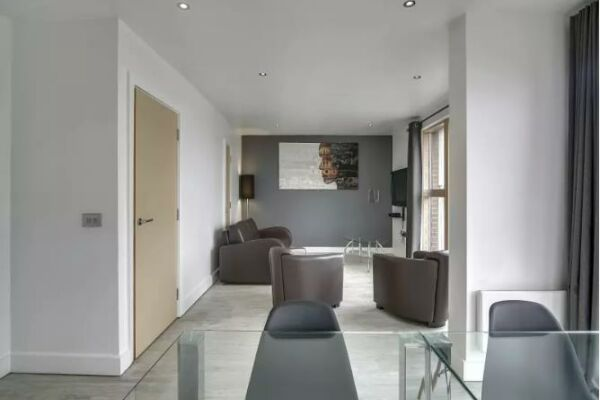 Living area, Laystall Apartment, Serviced Accommodation, Manchester