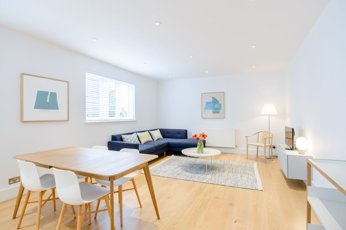 Living Area, Fulham Road Serviced Apartment, London