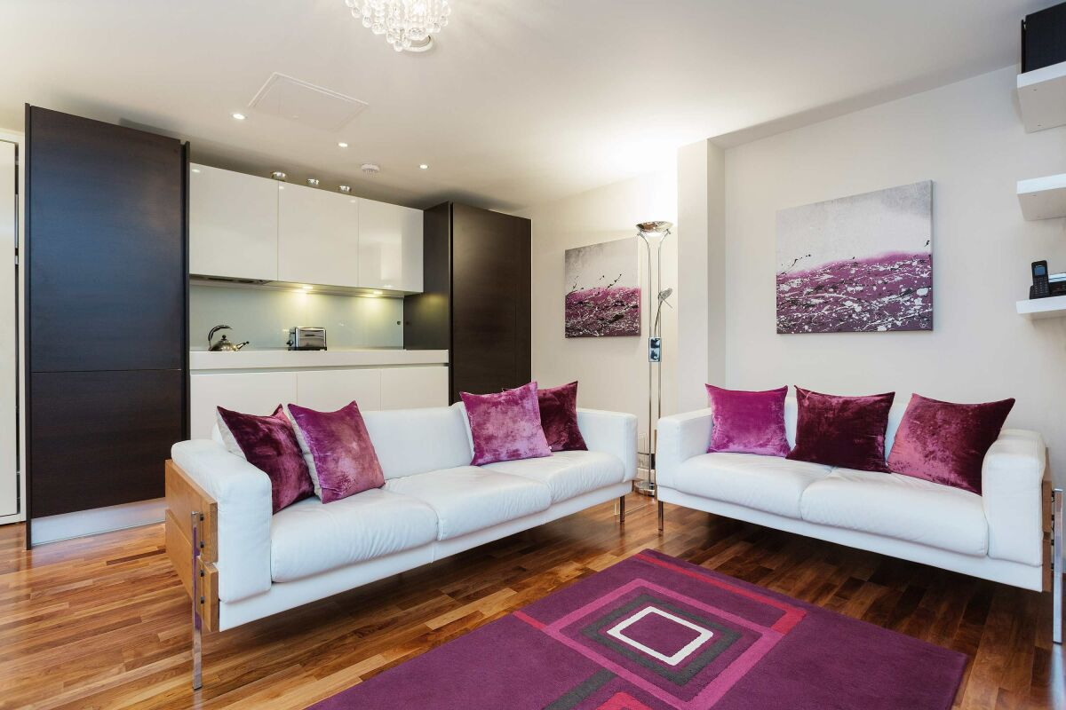 Living Area, Lamb's Passage Serviced Apartment, London