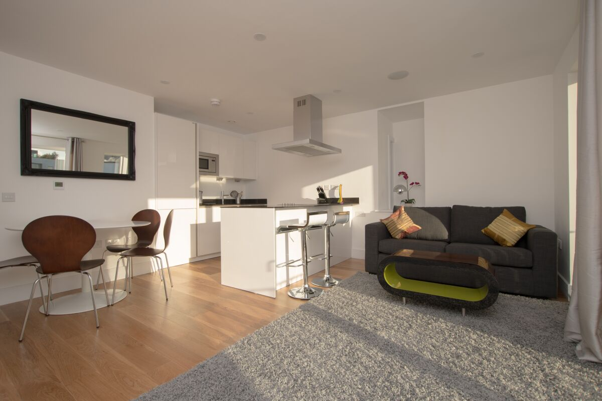Living Room and Kitchen, Gallery Serviced Apartments, Bermondsey, London