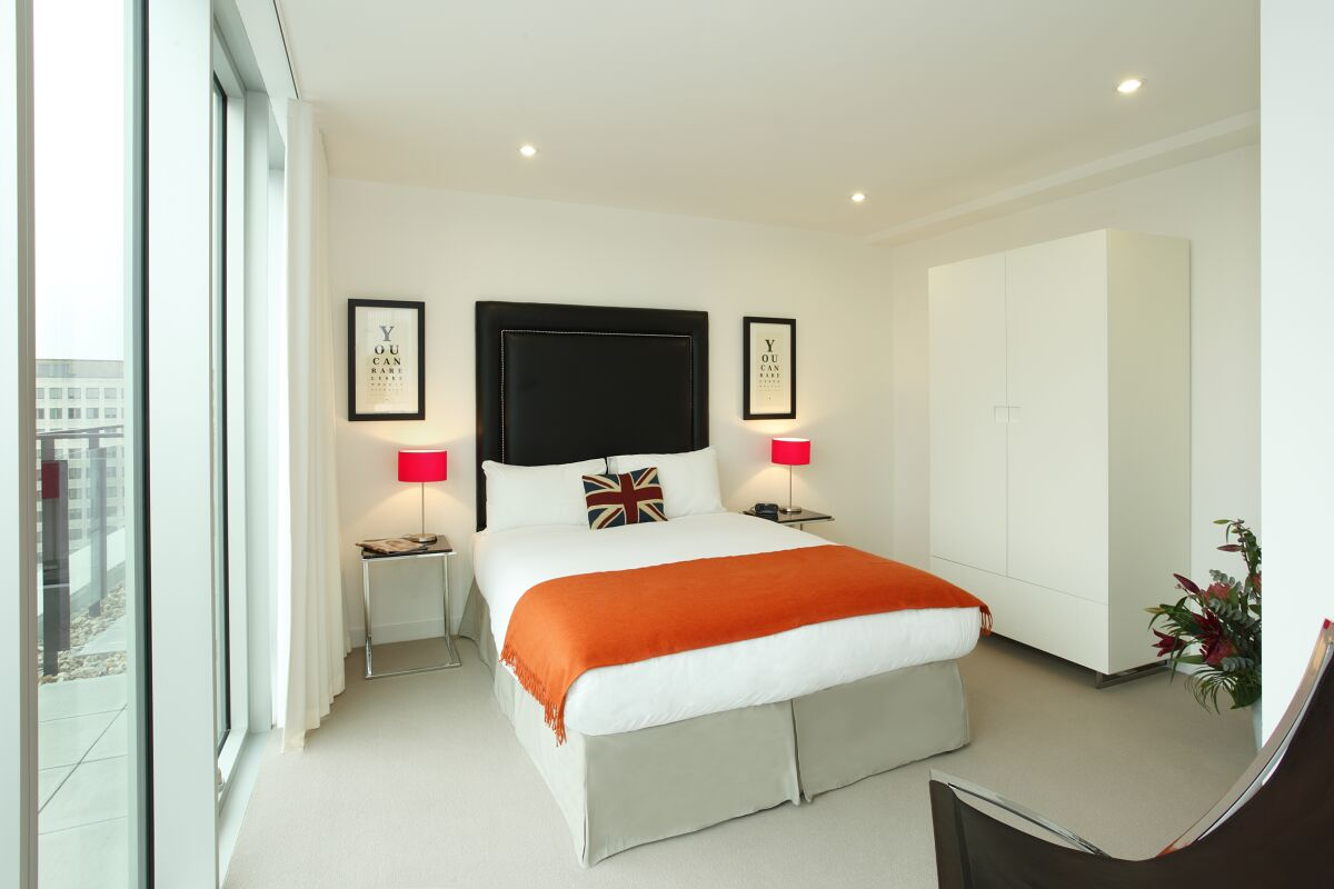 Bedroom, York Road Serviced Apartments, Lambeth, London