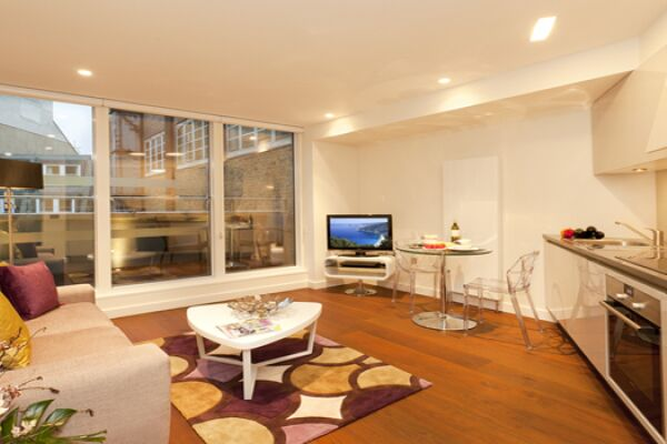 Living Room and Kitchen, St Martin's Serviced Apartments, Covent Garden, London