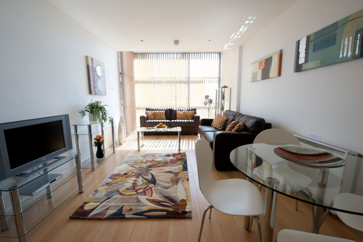 Living Area, Deansgate Quay Serviced Apartments, Manchester