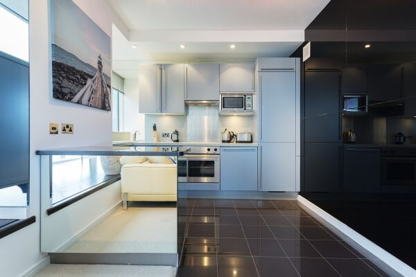 Kitchen, Grosvenor Road Serviced Apartment, Westminster