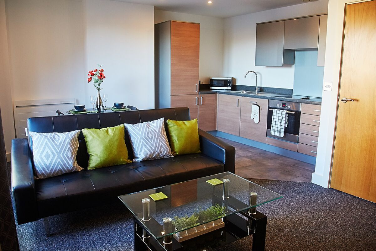 Living area and kitchen, The Cambria Serviced Apartment, Ipswich
